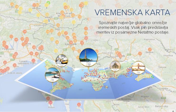 Netatmo Weather Map - pregled globalnega vremena v realnem času
